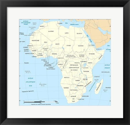 Framed Africa Map Political Print