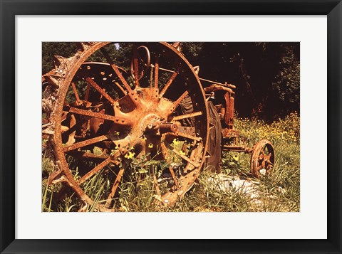 Framed Abandoned Tractor Near Mississippi River Bank Print