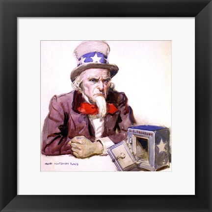 Framed James Montgomery Flagg  -Uncle Sam With Empty Treasury 1920 Print