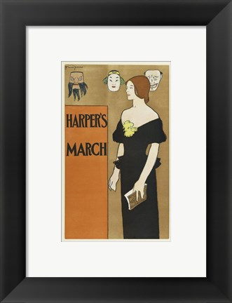 Framed Brooklyn Museum Poster for Harper's Magazine Edward Penfield Print