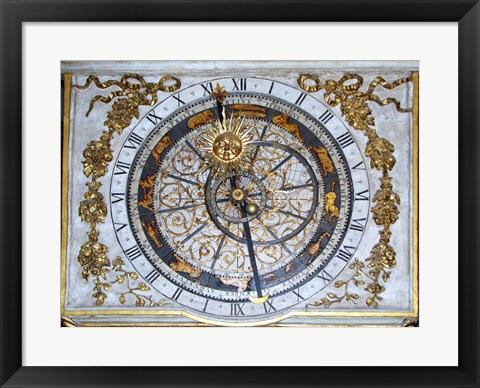 Framed Cathedrale Saint Jean Lyon Astronomical Clock Dial Print