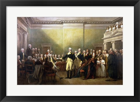 Framed General George Washington Resigning His Commission Print