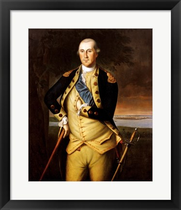 Framed George Washington by Peale 1776 Print