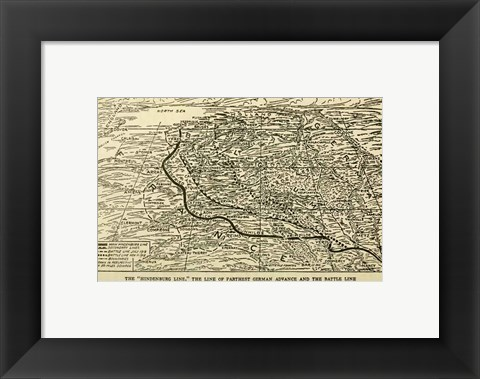 Framed Hindenburg Line Map SGW Vol. VIII Print