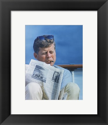 Framed President Kennedy Reading the New York Times Print