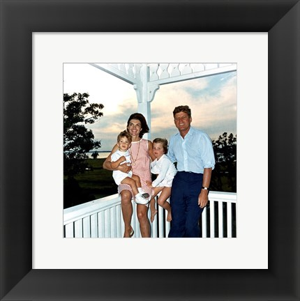Framed JFK and family in Hyannis Port, August 1962 Print