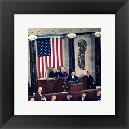 Framed JFK Delivers State of the Union Address, 14 January 1963 Print