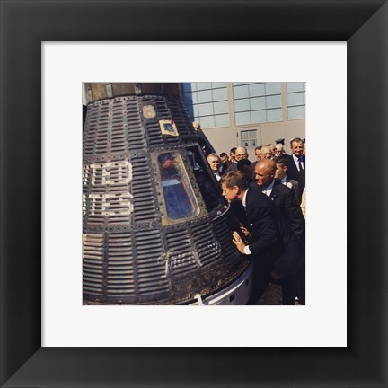 Framed JFK Inspects Mercury Capsule Print