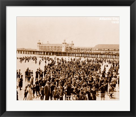 Framed Crowd at Atlantic City 1910 Print