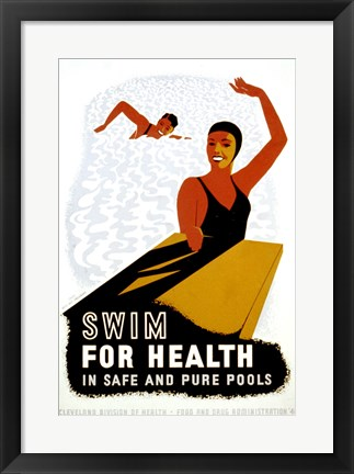 Framed Swim for Health Print