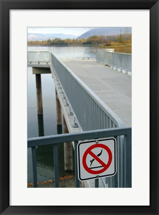 Framed No Swimming Sign on a Railing Print