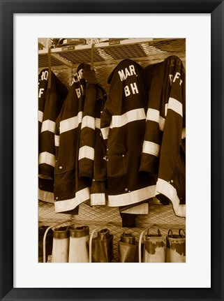 Framed Fire protection suits hanging in a fire station Print