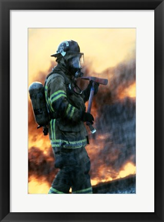 Framed Firefighter at a rescue operation Print