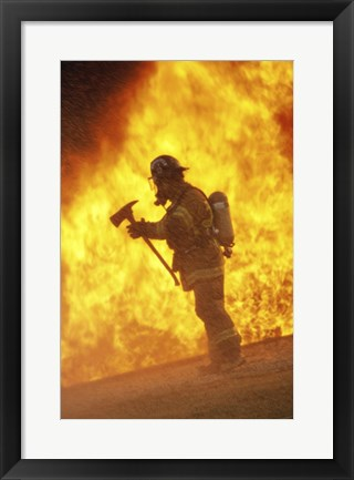 Framed Side profile - firefighter holding an axe Print