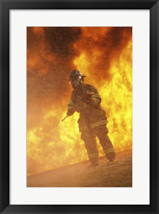 Framed Firefighter holding an axe Print