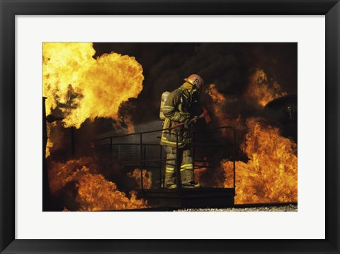 Framed Side profile of a firefighter holding an axe Print