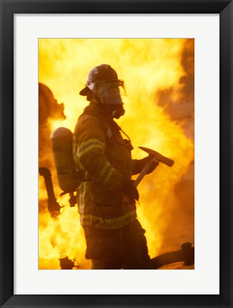 Framed Side profile of a firefighter (holding axe) Print
