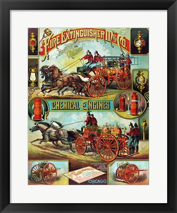 Framed Fire Extinguisher Mfg. Co., Advertising Poster, ca. 1890 Print