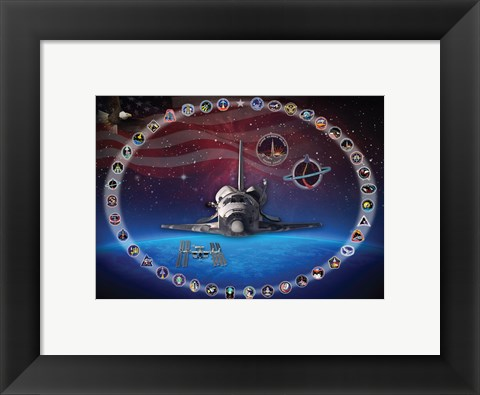 Framed Space Shuttle Discovery Tribute Poster Print