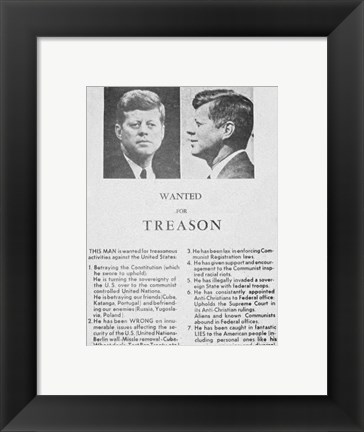 Framed JFK Wanted Dallas, 1963 Print