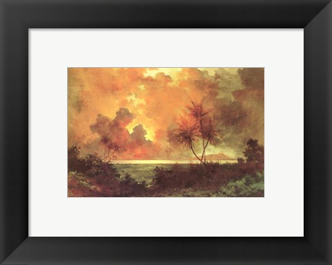 Framed Jules Tavernier - 'Sunrise Over Diamond Head', 1888 Print
