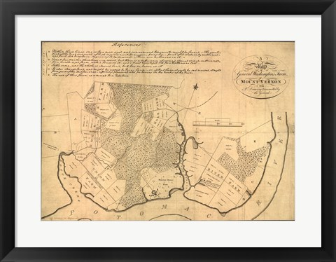 Framed Map of Mt Vernon made by Washington Print