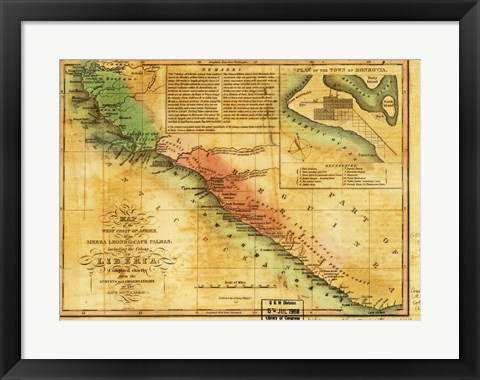 Framed Map of West Coast of Africa 1830 Print
