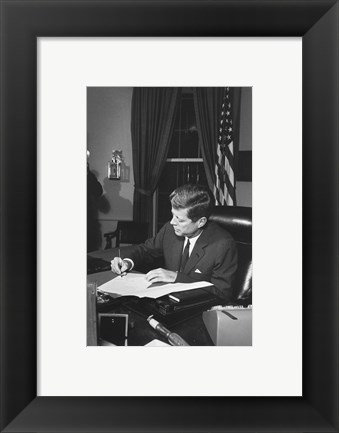 Framed Proclamation Signing, Cuba Quarantine. President Kennedy. White House, Oval Office Print