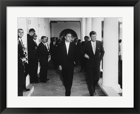 Framed Sargent Shriver with JFK Print
