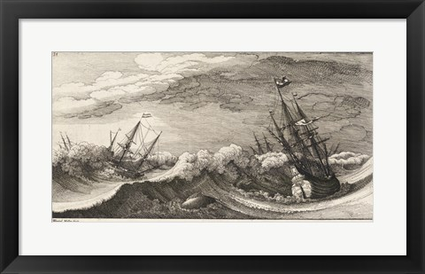 Framed Wenceslas Hollar - The whale and the three-masted ship Print