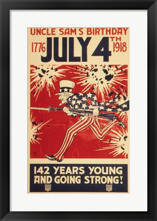 Framed Uncle Sam's Birthday 1776 July 4th 1918 Print