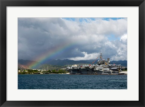 Framed US Navy, A Rainbow Arches Near the Aircraft Carrier USS Kitty Hawk Print