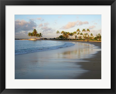 Framed Waikiki Beach And Palm Trees Print
