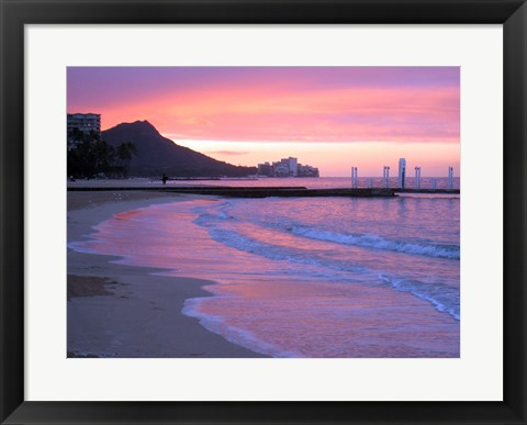 Framed Waikiki Beach Sunset Print