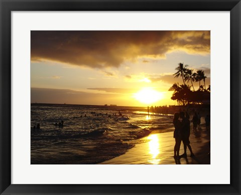 Framed Waikiki Beach at Sunset Print