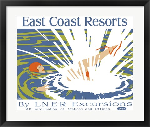 Framed East Coast Resorts - London & North Eastern Railway circa 1930 Print