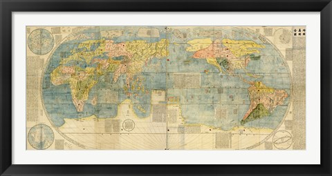 Framed Japanese World Map Print