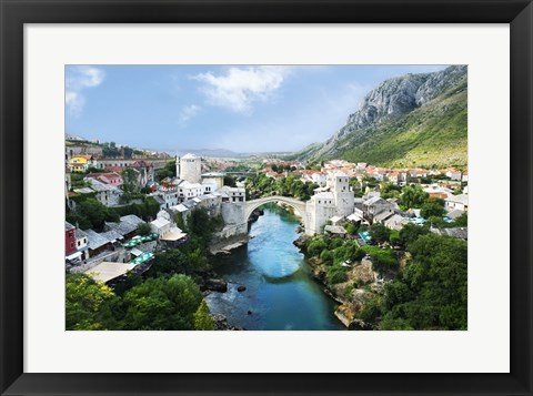 Framed Mostar Old Town Panorama 2007 Print