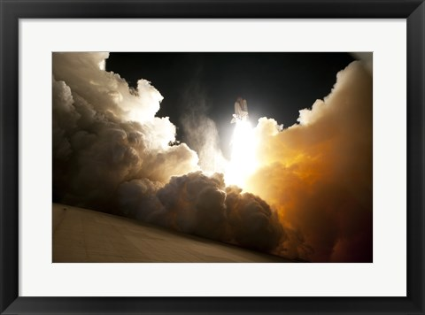 Framed STS-130 Exhaust Cloud Engulfs Launch Pad 39A Print