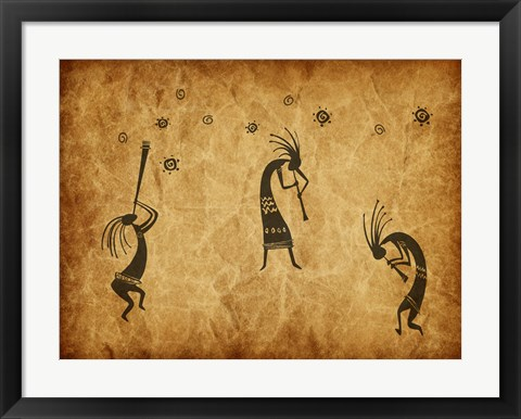 Framed Kokopelli Jamming Print