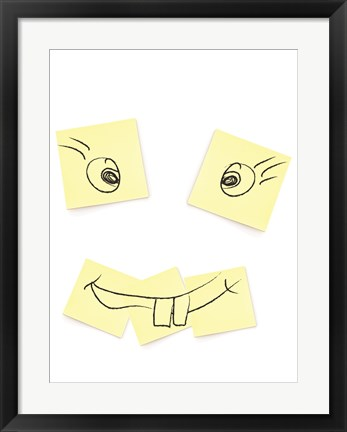 Framed Post- It Smiley Face Print