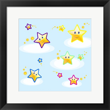 Framed Star Smiles on Clouds Print