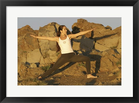Framed Young woman practicing yoga, Haleakala, Haleakala National Park, Maui, Hawaii, USA Print
