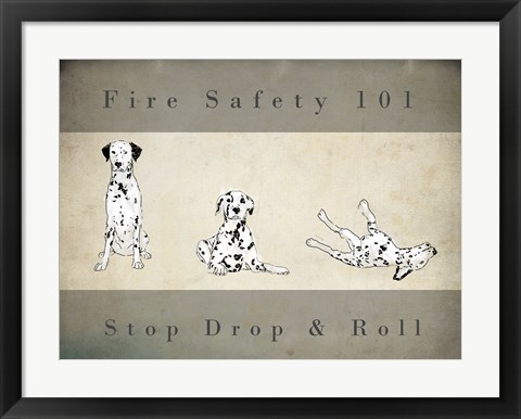 Framed Stop, Drop and Roll Print