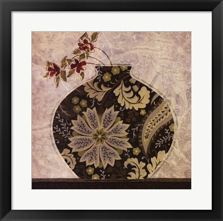 Framed Floral Ornament I Print