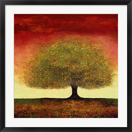 Framed Dreaming Tree Red Print