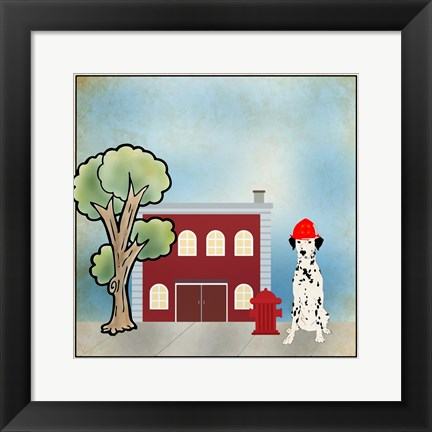 Framed Dalmation Firehouse Print