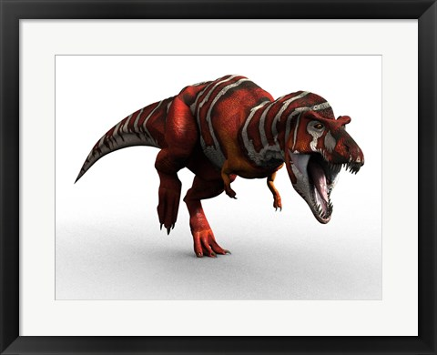 Framed T Rex Charge Print
