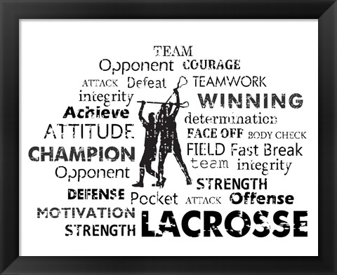 Framed Lacrosse Text Print