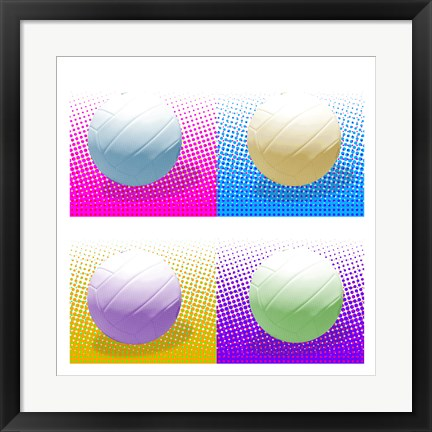Framed Volleyball Pop Squares Print